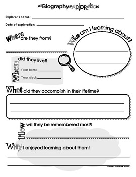 My Biography Exploration Report -  Book report sheet for k