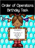 Order of Operations- My Birthday- Math Activity