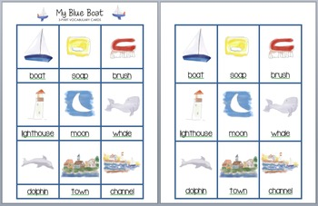 My Blue Boat Vocabulary Cards
