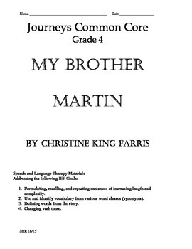 Journeys Common Core 4th - My Brother Martin Supplemental