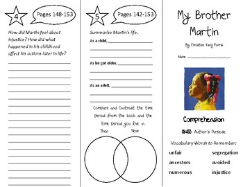My Brother Martin Trifold - Treasures 4th Grade Unit 2 Wee