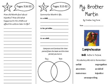 My Brother Martin Trifold - Treasures 4th Grade Unit 3 Wee