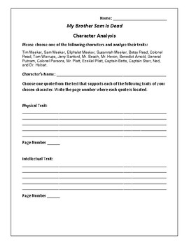My Brother Sam Is Dead - Character Analysis Activity - Col
