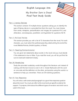My Brother Sam is Dead Final Test Study Guide
