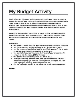 My Budget Activity