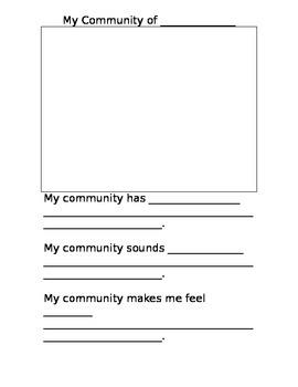My Community Worksheet (grade k/1)