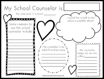 My Counselor Activity Sheet- Savvy School Counselor