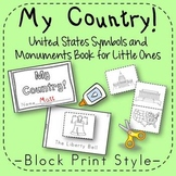 US Symbols and Monuments Book Kindergarten 1st Grade Block Print