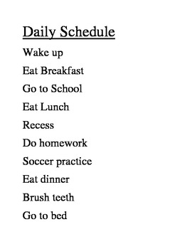 My Daily Schedule: Text and Digital Time