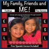 ESL Resource: Five Senses, Body, Feelings, Family, Friends