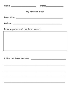 My Favorite Book Writing Activity
