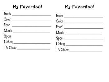 My Favorites Student Survey