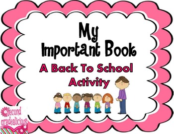 My Important Book Back To School Activity