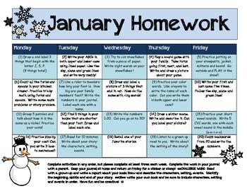 My January Homework Calendar