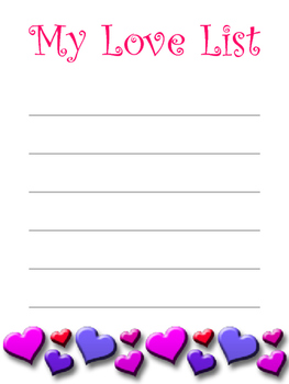 My Love List - Valentines Day
