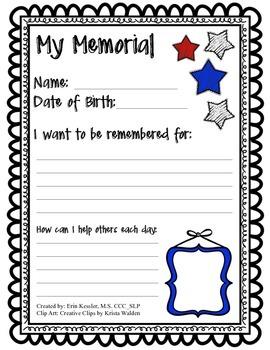 My Memorial Worksheet Activity