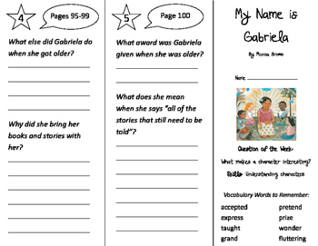 My Name is Gabriela Trifold - Journeys 2nd Grade Unit 4 We