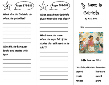 My Name is Gabriela Trifold - Storytown 2nd Grade Unit 6 Week 2