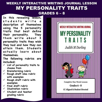Interactive Weekly Writing Notebook Lesson - My Personalit