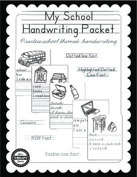 My School Handwriting Packet