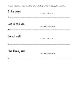 My Sidewalks Level A  Unit 2 Week 3 Fluency Sentences