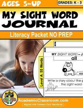 My Sight Word Journal Writing Prompts Level-A {Literacy pa