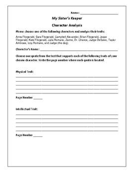 My Sister's Keeper - Character Analysis Activity - Jodi Picoult