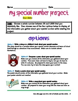 My Special Number Project for Factors, Multiples, and Prim