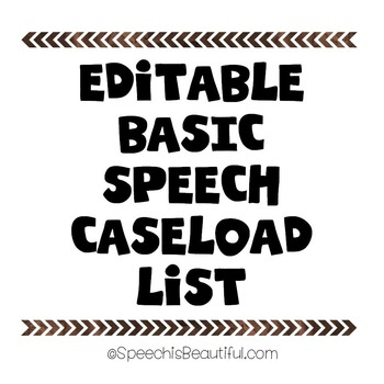 My Editable Speech Therapy Caseload List {FREEBIE}
