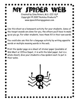 My Speech Web Worksheets