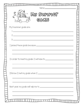 My Summer Goals Worksheet [End of the Year]