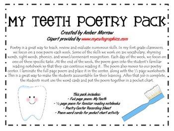 My Teeth Poetry Pack