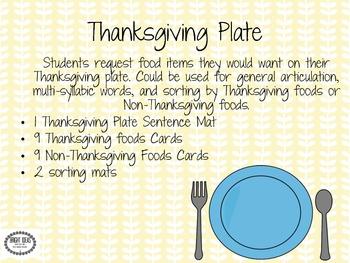 My Thanksgiving Plate Speech & Language Freebie