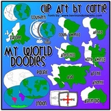 My World Doodles clip art COMBO pack (BW and colored PNG)