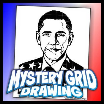 Mystery Grid Drawing President 44 Barack Obama