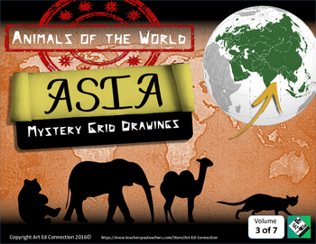 Mystery Grid Drawings: Animals of the World ASIA! Printabl