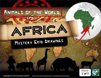 Mystery Grid Puzzles: Animals of the World AFRICA Printabl