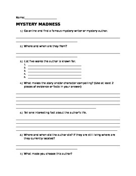 Mystery Madness Worksheet