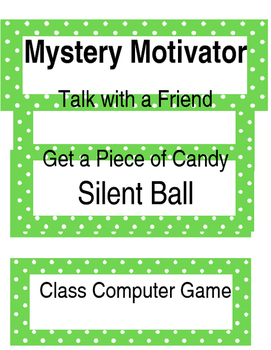 Mystery Motivator Whole Class Rewards