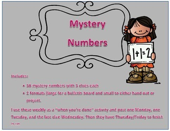 Weekly Number: What Number Am I Mystery Clues