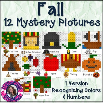 Fall Mystery Pictures- Hundreds Chart Recognizing Colors a