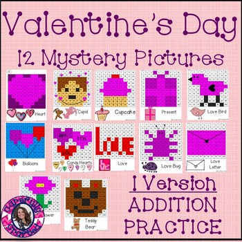Valentine's Day Mystery Pictures- Hundreds Chart Addition
