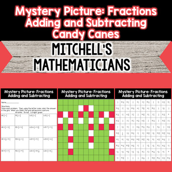 Mystery Picture For Adding and Subtracting Fractions (Cand