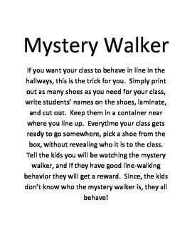 Mystery Walker Line-Walking Good Behavior Kit