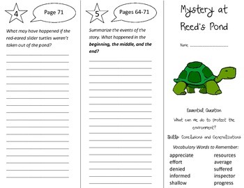 Mystery at Reed's Pond Trifold - Journeys 4th Grade Unit 6