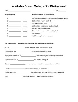 Mystery of the Missing Lunch Vocabulary Test (4th grade)