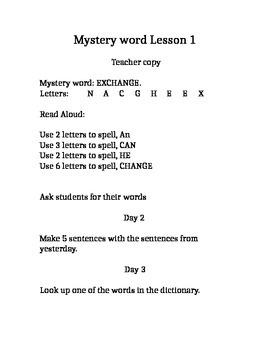Mystery vocab word