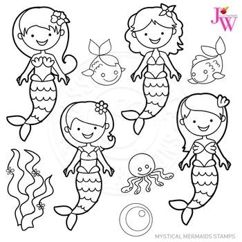 Mystical Mermaids Cute Digital B&W Stamps, Mermaid Line Ar