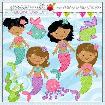 Mystical Mermaids V2 Cute Digital Clipart, Mermaid Graphics