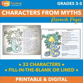 Mythology Characters Research and Coloring Sheets + Themed